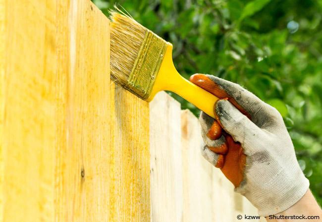 Mit einem kleinen Pinsel wird ein Holzzaun mit gelber Farbe bestrichen.